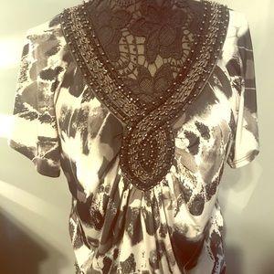 New Women's Size XL Black & Gray Short Sleeve